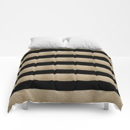 preppy contemporary minimalist great gatsby champagne black gold stripes Comforters