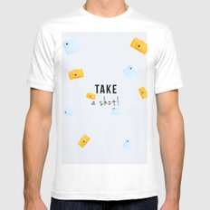 TAKE A SHOT! 2 (with text) MEDIUM Mens Fitted Tee White