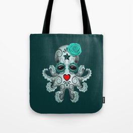 Teal Blue Day of the Dead Sugar Skull Baby Octopus Tote Bag