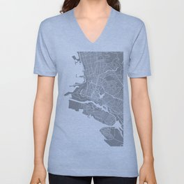 Oakland CA map grey Unisex V-Neck