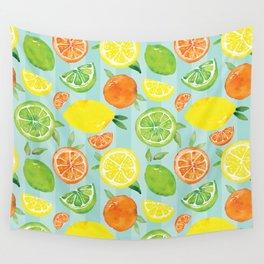 Zesty Citrus Pattern Wall Tapestry