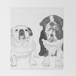 English Bulldog Brothers Throw Blanket