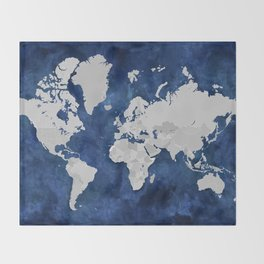 Dark blue watercolor and grey world map Throw Blanket