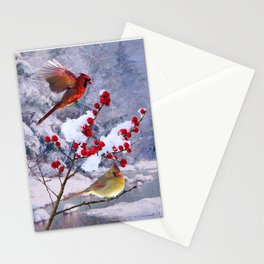 Red Birds of Christmas Stationery Cards