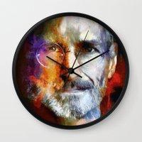 steve jobs Wall Clocks featuring Steve Jobs by Richard Michaud