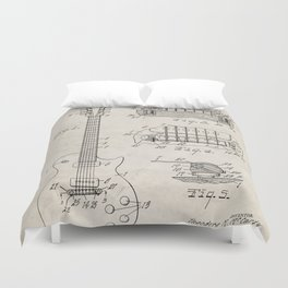 Gibson Guitar Patent - Les Paul Guitar Art - Antique Duvet Cover