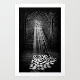 Rays of Sun through medieval blind window tracery black and white photograph / art photography Art Print