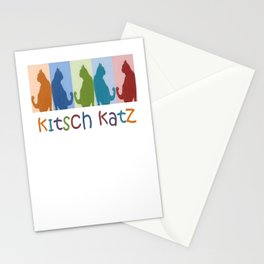 Kitsch Cats Silhouette Cat Collage On Pastel Background  Stationery Cards