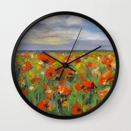 Poppy Field with Storm Clouds Wall Clock