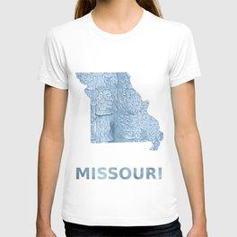 Missouri map outline Light steel blue blurred wash drawing T-shirt
