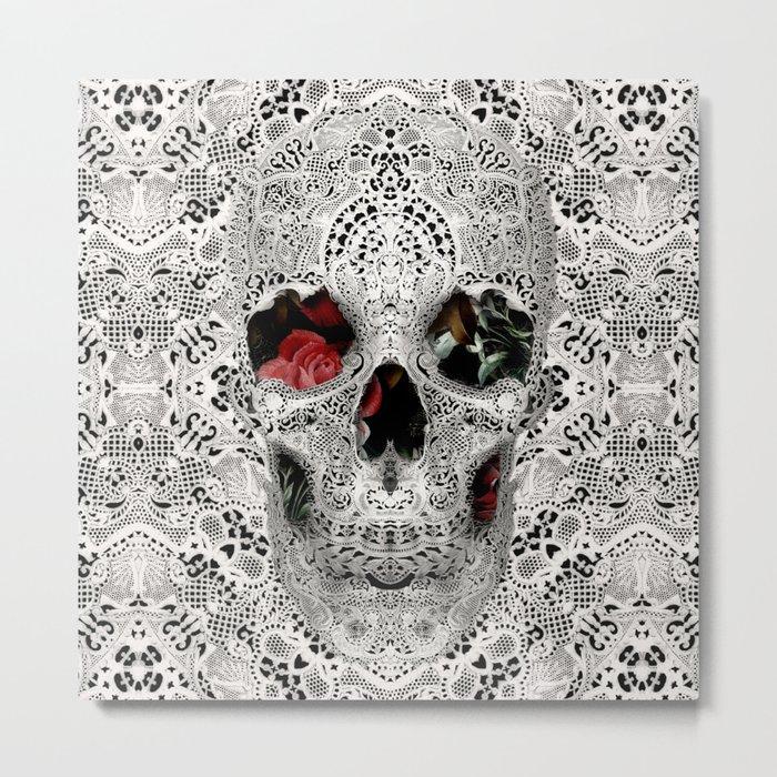 Lace Skull Light Metal Print