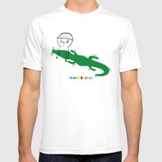 Crocodile Float White SMALL Mens Fitted Tee