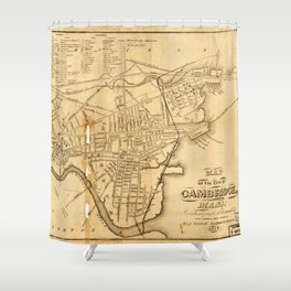 Map of Cambridge, Massachusetts (1857) Shower Curtain