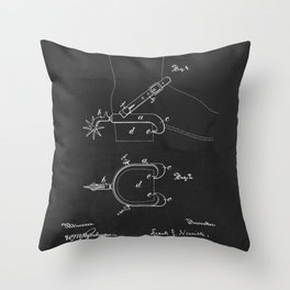 1887 Horseman Spurs Patent Throw Pillow