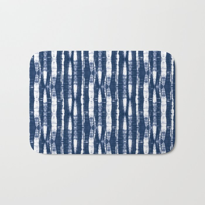 Shibori Stripes Indigo Blue Bath Mat