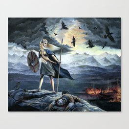 Valkyrie and Crows Canvas Print