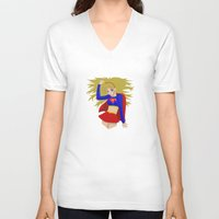 supergirl V-neck T-shirts featuring Supergirl by revolver74