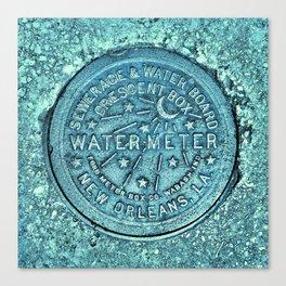 New Orleans Water Meter Louisiana Crescent City NOLA Water Board Metalwork Blue Green Canvas Print