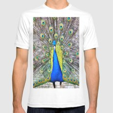 Peacock Display MEDIUM White Mens Fitted Tee