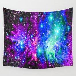 Fox Fur Nebula Galaxy Pink Purple Blue Wall Tapestry
