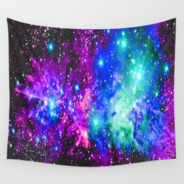 Fox Fur Nebula Galaxy Pink Purple Blue Wall Tapestry