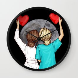 Doctor Nurse And The Moon Wall Clock