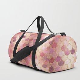 Rose Gold Glitter Mermaid Scales Duffle Bag