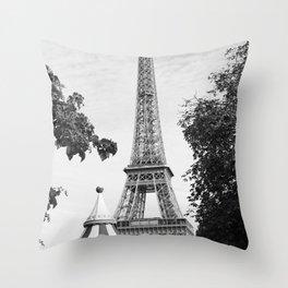 Paris in Black and White, Eiffel Tower Throw Pillow
