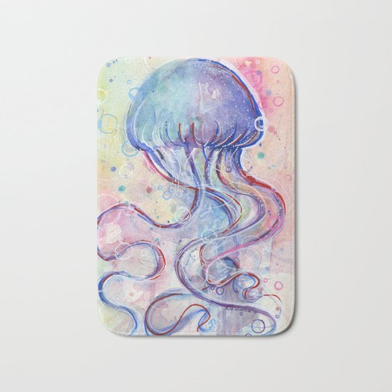 Jellyfish Watercolor Bath Mat