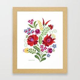 Hungarian Folk Design Red Peppers Framed Art Print