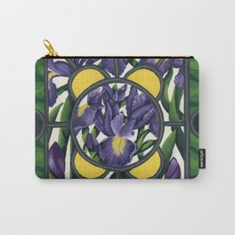 Stained Glass Irises Carry-All Pouch