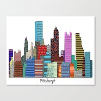 pittsburgh Canvas Prints featuring Pittsburgh by bri.buckley