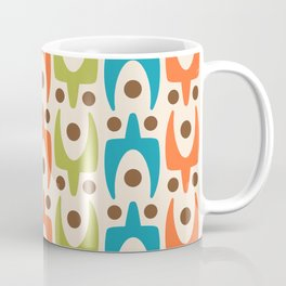 Mid Century Modern Abstract Pattern 441 Orange Chartreuse and Turquoise Coffee Mug
