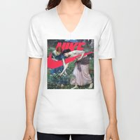 nike V-neck T-shirts featuring Victoria Nike Women by CHESSOrdinary
