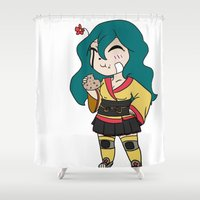 chibi Shower Curtains featuring Chibi by K-Boomsky