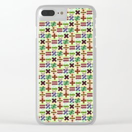 Seamless Colorful Abstract Mathematical Symbols Pattern VII Clear iPhone Case