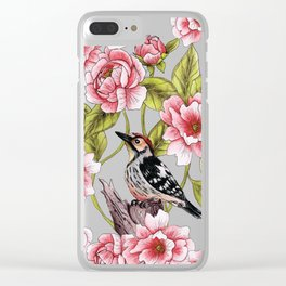 Woodpecker & Peonies - Floral/Bird Design Clear iPhone Case