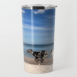 Playing dogs at the beach Travel Mug