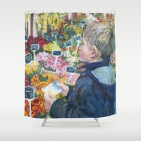 shopping Shower Curtains featuring flowers shopping by Maiko Horita