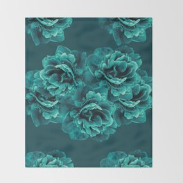 Turquoise Peony Flower Bouquet #1 #floral #decor #art #society6 Throw Blanket