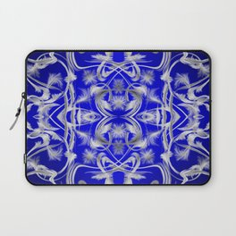 silver and blue Digital pattern with circles and fractals artfully colored design for house Laptop Sleeve