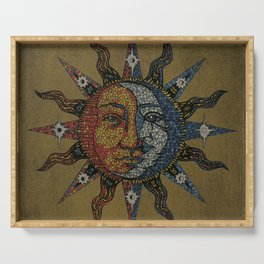 Vintage Celestial Mosaic Sun & Moon Serving Tray