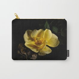 Yellow rose on black -2 Carry-All Pouch