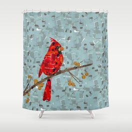 Red Cardinal Collage Shower Curtain