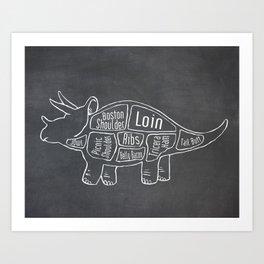 Triceratops Dinosaur (A.K.A Three Horn Face) Butcher Meat Diagram Art Print