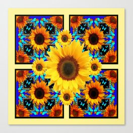 Blue Abstracted Sun Flowers & Butterflies Pattern Canvas Print