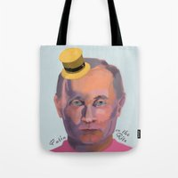 putin Tote Bags featuring Putin on the Ritz by Kervin