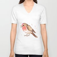 robin V-neck T-shirts featuring Robin by Bwiselizzy
