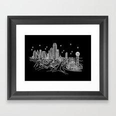 Dallas, Texas City Skyline Framed Art Print