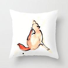 Scratchy Fox Throw Pillow